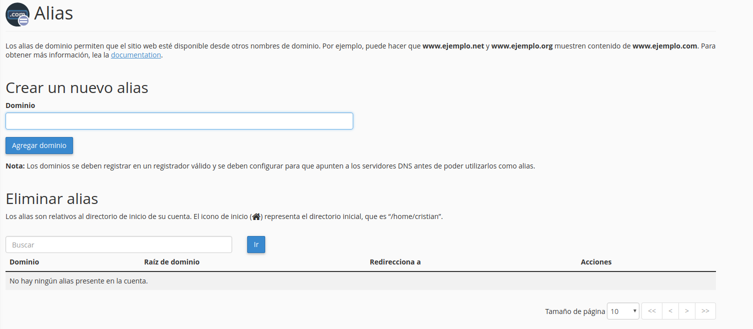 añadir alias webup hosting
