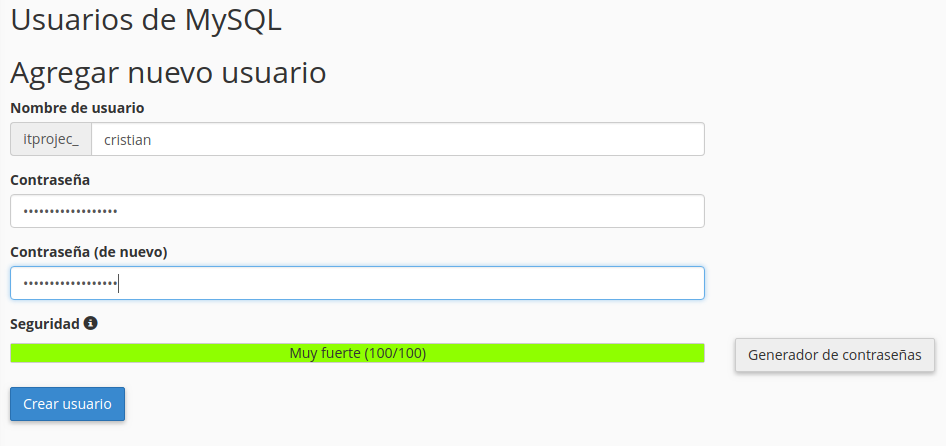 usuario bbdd webup hosting
