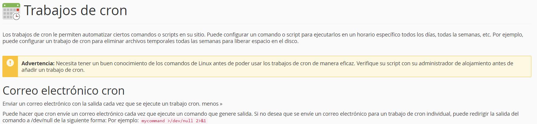 informacion cron webup hosting