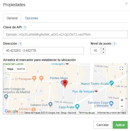propiedades de google map