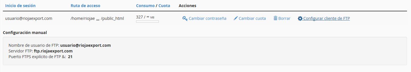 configurar cuenta ftp