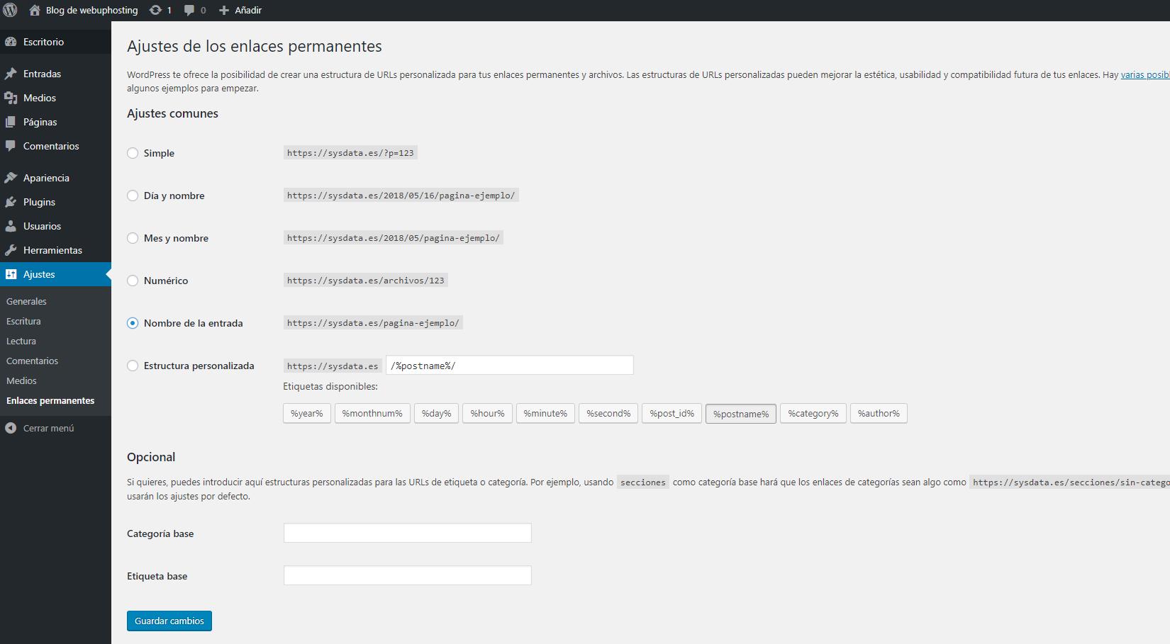 actualizar enlaces permanentes wordpress
