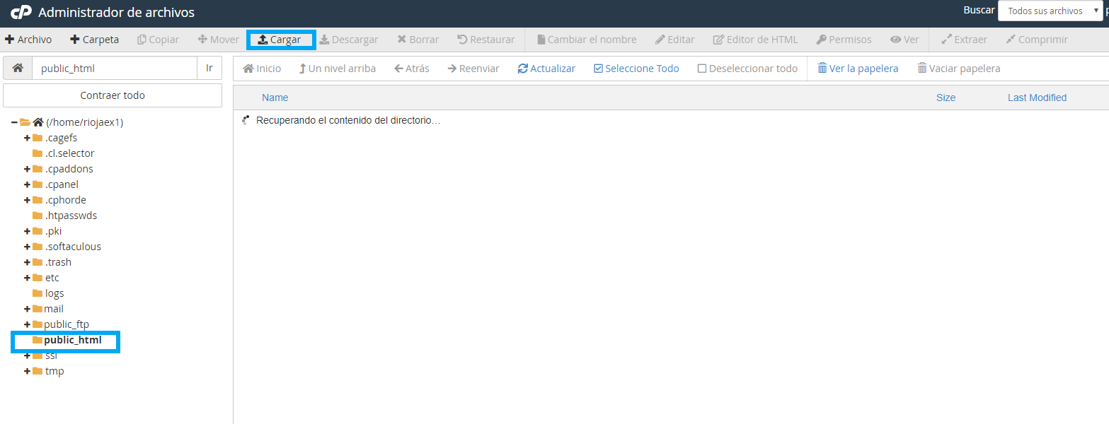 importar archivo en administrador de ficheros