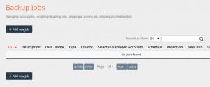 Configuración de trabajo de copia de seguridad