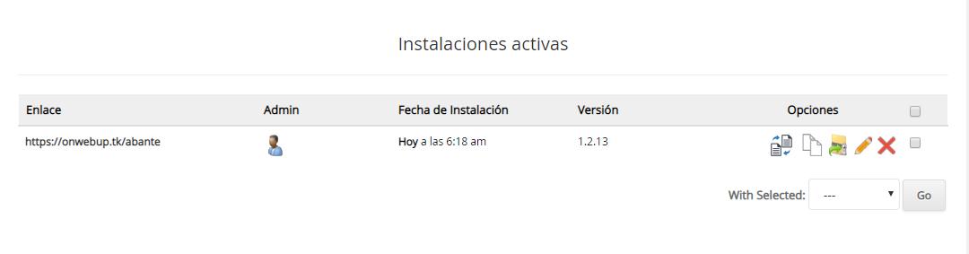 AbanteCard instalacion activa