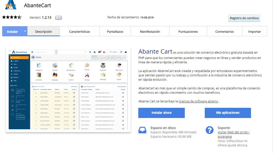 AbanteCart introducción