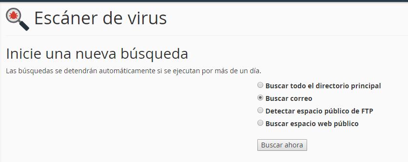opciones de escaner de virus