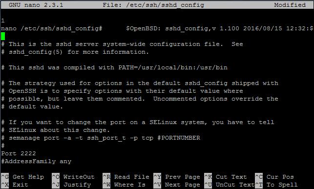 Cambiar puerto SSH